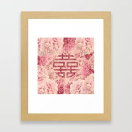 Watercolor Double Happiness Symbol on  Peony flowers Framed Art Print
