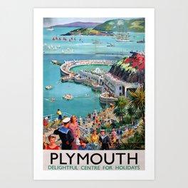 Plymouth Vintage Travel Poster Art Print