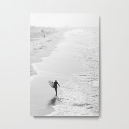 Female Surfer Manhattan Beach California Metal Print