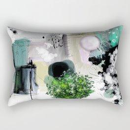 Peinture digitale maison arbres chat oiseau bulles Rectangular Pillow