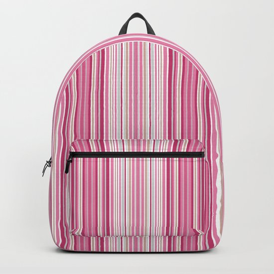 Multi-colored striped pattern of pink , white and beige . Backpack