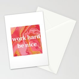 Work Hard Be Nice by Bethany Kelm Stationery Cards