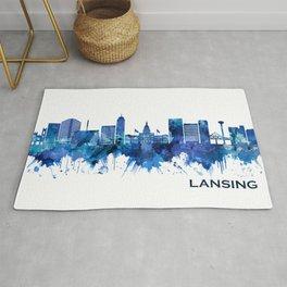 Lansing Michigan Skyline Blue Rug
