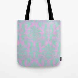 Modern vintage teal purple floral damask pattern Tote Bag