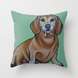 Dachshund Painting Throw Pillow