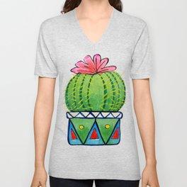 Watercolor Painting Cactus Unisex V-Neck