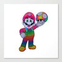 mario bros Canvas Prints featuring Mario Bros by Luna Portnoi