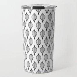 Seamless Black & White Abstract Decorative Pattern - Leaves Travel Mug