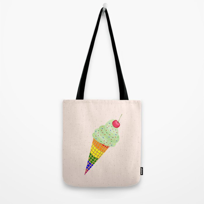 Colorful Ice Cream Cone Design Tote Bag