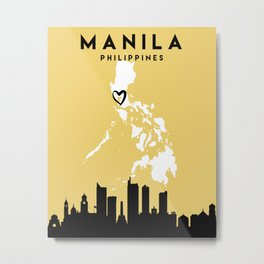 MANILA PHILIPPINES LOVE CITY SILHOUETTE SKYLINE ART Metal Print