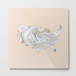 Marble USA map Metal Print