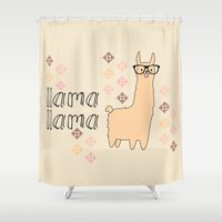 llama Shower Curtains featuring llama llama by Vickn