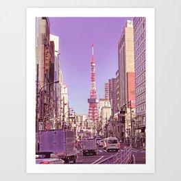 Tokyo Tower Seen from Gaien-Higashi-Dori - Pink Filter Art Print