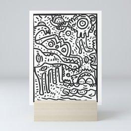 Cool Graffiti Art Doodle Black and White Monsters Scene Mini Art Print