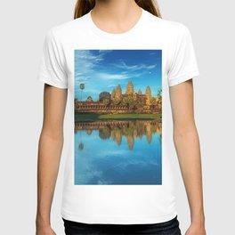 Sky Blue Day at Angkor Wat Buddist Temple, Cambodia by Lor Teng Huy T-shirt
