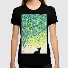 Cat in the garden under willow tree T-shirt