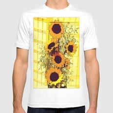 Sunflowers MEDIUM White Mens Fitted Tee