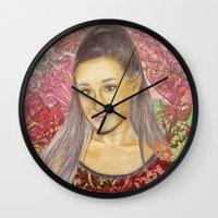 ariana grande Wall Clocks featuring Ariana II by Share_Shop