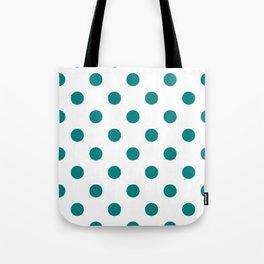 Polka Dots - Dark Cyan on White Tote Bag