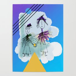 Holding Hands in the sky Poster