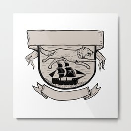Wolf Running Over Pirate Ship Crest Scratchboard Metal Print
