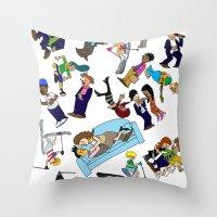 cartoons Throw Pillows featuring 2013 Cartoons 1 by Reid