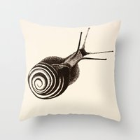 snail Throw Pillows featuring  Snail. by Assiyam