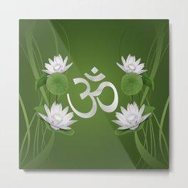 Om Symbol with Lotus flowers on green Metal Print