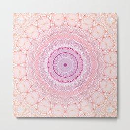 Pink and Purple Floral Mandala Metal Print