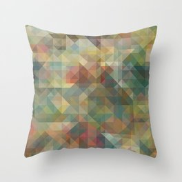 Chic Abstract Retro Triangles Mosaic Pattern Throw Pillow