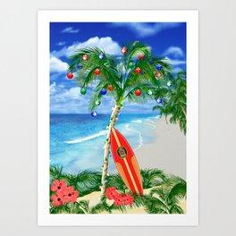 Beach Christmas Art Print