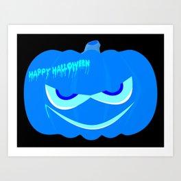 Evil Blue Halloween Pumpkin Art Print