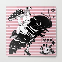 MAD ALICE,CATERPILLAR,WHITE RABBIT Metal Print