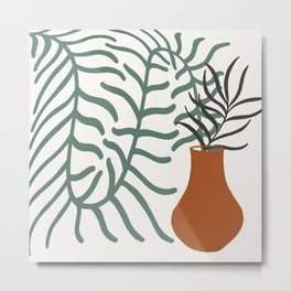 Vase With Foliage Still Life Metal Print