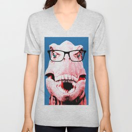 Geek T-Rex with Blue Background Unisex V-Neck