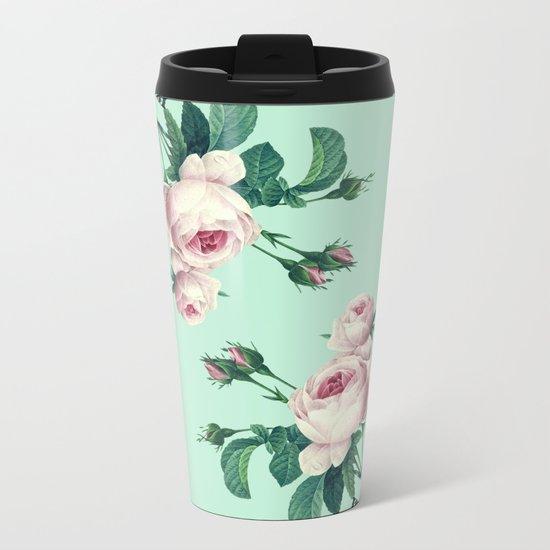 Roses Mint Green + Pink Metal Travel Mug