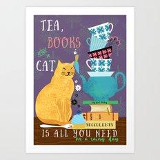 Tea, Books and Cats Art Print