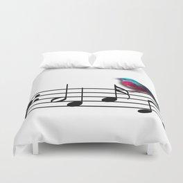 Bird on Music Sheet Duvet Cover