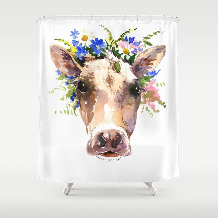 Cow Head Floral Farm Animal Artwork House Design Cattle Shower Curtain