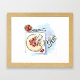 Strawberry Cheesecake Tart Framed Art Print