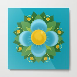 Aqua Blue Green and Gold Flower Fileteado Filete Porteño Buenos Aires Inspired Metal Print