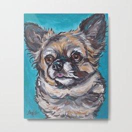 Cute Chihuahua Art, Colorful Dog Painting Metal Print