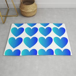Love Hearts Classic Blue Ombre Rug