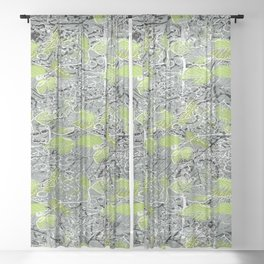 Leaves with black and white outlines and branches Sheer Curtain
