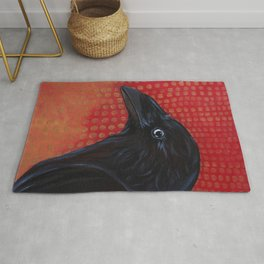 Crow In Red Rug