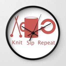 Knitting and Coffee Wall Clock
