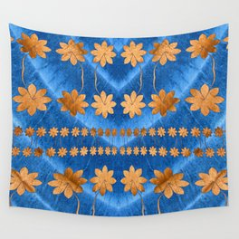 Blue Copper Silk Floral Wall Tapestry