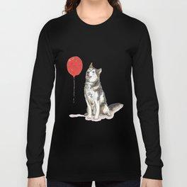 Husky With Balloon Long Sleeve T-shirt
