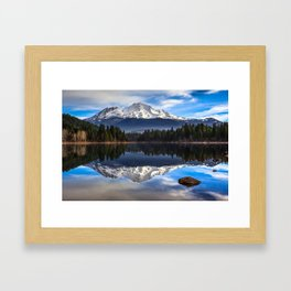 Mount Shasta Morning Reflection Framed Art Print