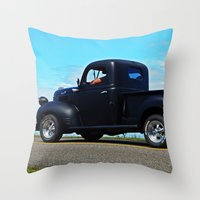 fargo Throw Pillows featuring Cruising the Waterfront in the old Fargo by DanByTheSea